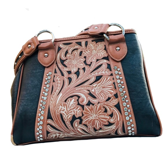 e10e1a0a1edb Montana West Dark Brown and Tan Ornate HoBo Bag